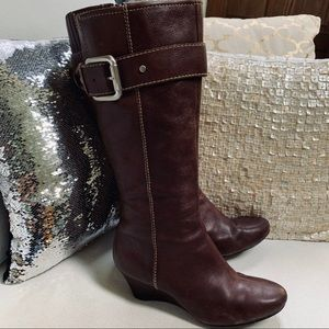 FOSSIL Leather Boots Wedge Heel Sz 8M Brown VGUC